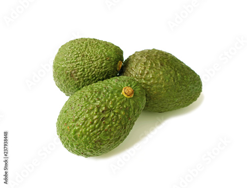 Closed Up Three of Green Bumpy Hass Avocado Whole Fruits Isolated on White Background