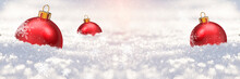 Merry Christmas - Christmas Balls On The Snow, Winter Bokeh Background, Red Balls On The Snow, Rays Of Light
