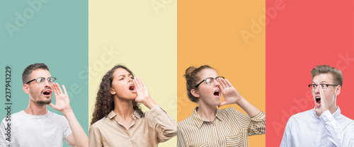 Fotografía Collage of a group of people isolated over colorful background shouting and screaming loud to side with hand on mouth