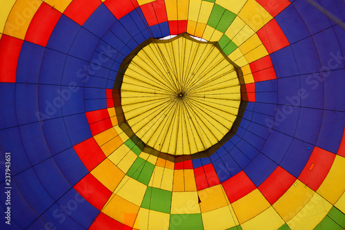 Keuken foto achterwand Ballon Bottom view from the inside at the multicolored balloon dome