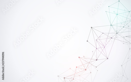 Fotografía  Geometric abstract background with connected dots and lines