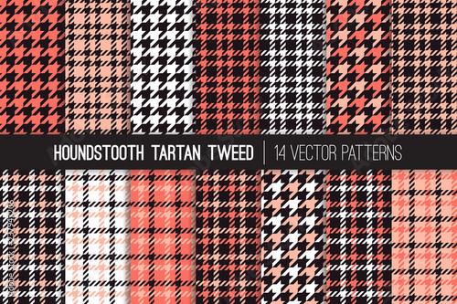 Photo  Coral, Pink, White and Black Houndstooth Tartan Tweed Vector Pattern Tile