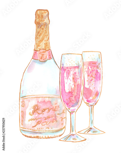Pink champagne bottle and two flute crystal glasses painted in watercolor on clean white background
