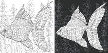 Coloring Page With Gold Fish