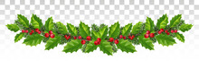 Long Garland Of Spruce Branches, Holly And Red Berries. Festive Wide Decor. Panorama. Vector.Eps 10.