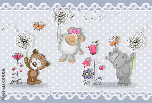 3d wallpaper, cute baby background with little animals . Greeting card. Pastel background
