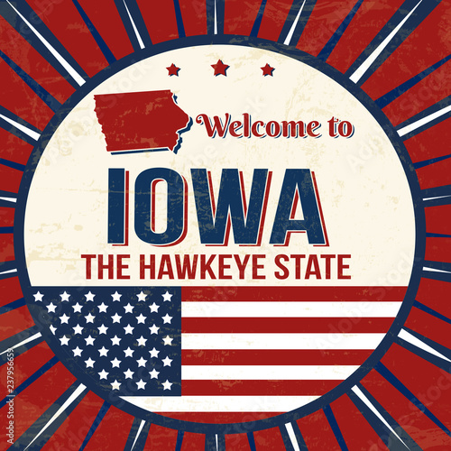 Photo  Welcome to Iowa vintage grunge poster