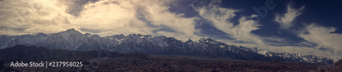 Fototapety, obrazy: Sierra Mountain Range at Sunset. Mount Whitney the highest peak in the lower 48 in the middle.