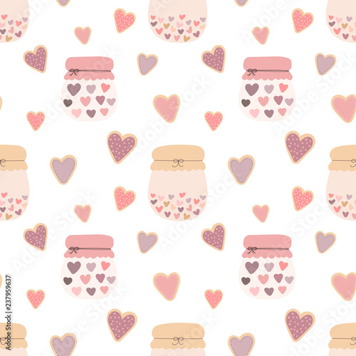 Photo Seamless pattern of love shape hearts cookies, jars of jam on a light background