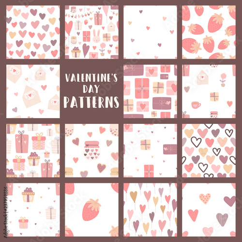Fotografering  Сollection of seamless patterns on the theme of love in pink, purple, beige colors