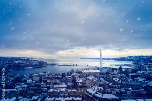 Aluminium Prints Blue Snowing in Geneva during Winter before Christmas