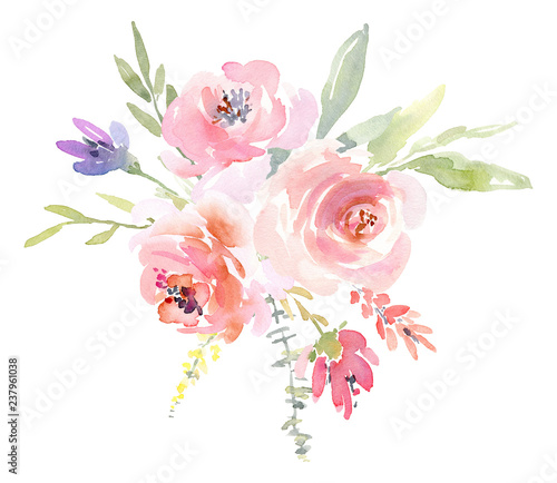 Valokuva  Watercolor arrangement floral bouquet, flowers roses peonies and leaves branches