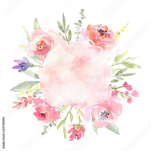 Valokuva  Watercolor wreath with flowers leaves, floral round frame border