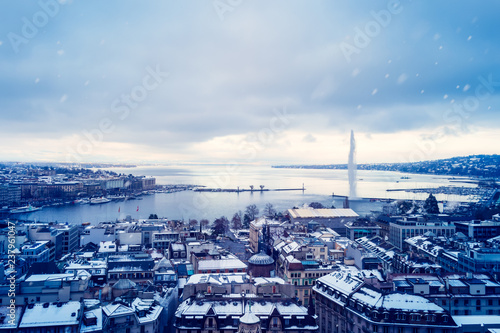 Foto op Plexiglas Blauw Snowing in Geneva during Winter before Christmas