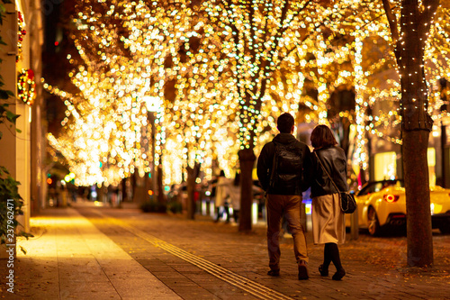 Obraz na plátně  イルミネーション 夜 クリスマス 年末