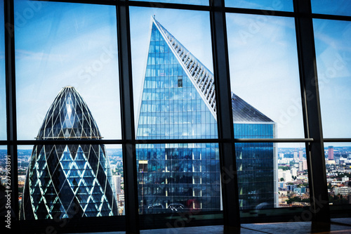 Modern architecture against blue sky, London, Uk