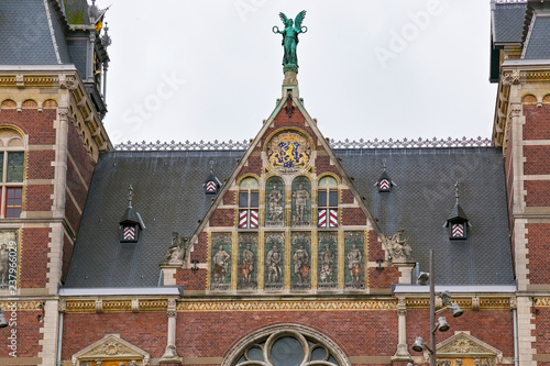 Photo  Building details of the Rijksmuseum Dutch national museum of arts and history in Amsterdam