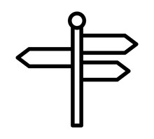 Signpost, Guidepost Or Road Sign With Three Different Blank Information Arrows Line Art Vector Icon For Travel Apps And Websites