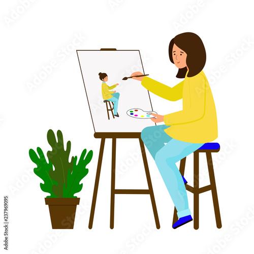 Fotografie, Obraz Girl draws a picture