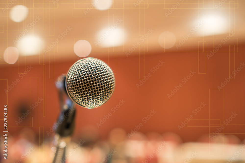 Fototapeta Microphones for speech or speaking in seminar Conference room, talking for lecture to audience university, Event light convention hall Background. Business Talk Presentation concept
