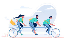 Team With Young Woman, Man With Beard And Student Riding A Bike.