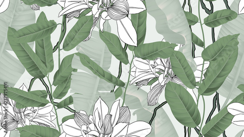Botanical seamless pattern, banana leaves, vines and other leaves on light green background