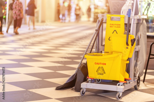 set of cleaning equipment in the Terminal 21 Pattaya shopping mall, Thailand Fototapeta
