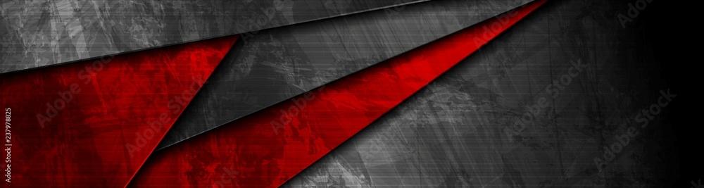 Fototapeta Red and black grunge material banner design