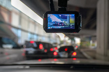 Dash Camera Or Car Video Recorder In Vehicle On The Way