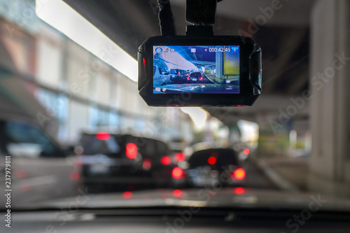 Dash Camera or car video recorder in vehicle on the way Fotobehang
