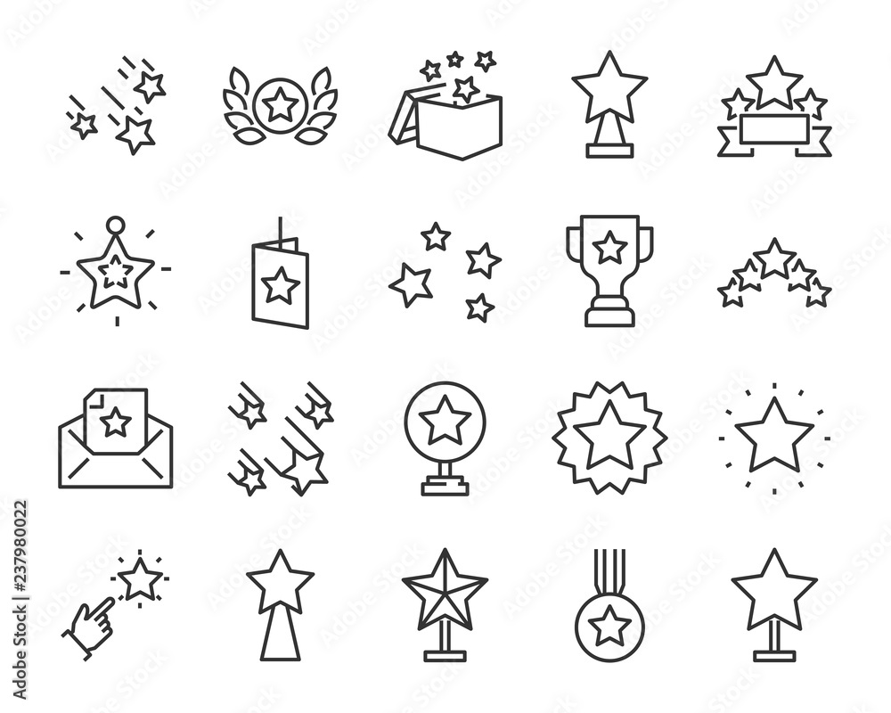 set of star icons, such as celebration, success, glory, sparkle, award, premium <span>plik: #237980022 | autor: kornkun</span>