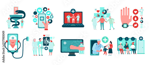 Carta da parati Digital Medicine Icons Set