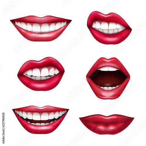 Obraz na płótnie Mouth Expressions Realistic Set