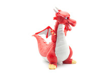 Red Plastic Dragon Isolated On White Background