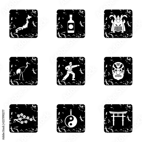 Foto  Attractions of Japan icons set