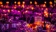 canvas print picture - Pink and Purple Christmas Decor with candles and lamps for a large party or Gala Dinner