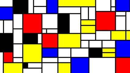 Fototapeta 3D Neoplasticism imittation pattern, Piet Mondrian style. Large size background texture