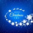 White silhouette of flying Santa Claus with reindeer sleigh decorated by snowflekes trail and greeting text. Snowfall on blue background. Vector illustration