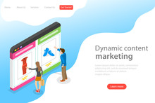 Isometric Flat Vector Landing Page Template Of Behavioral Digital Marketing, Dynamic Or Personalized Content.