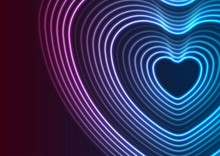 Neon Glowing Laser Heart Shape Abstract Background