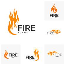 Set Of Fire Flame Logo Design Vector. Hot Logo Template