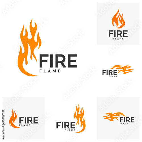 Foto Set of Fire flame logo design vector. Hot logo template