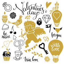 Valentines Day Design Elements, Icons Set