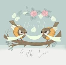 Bird Couple Cute Card With Vintage Flower. Beautiful Happy Birthday Greeting Circular Banner. Vector Party Invitation Cartoon Illustration