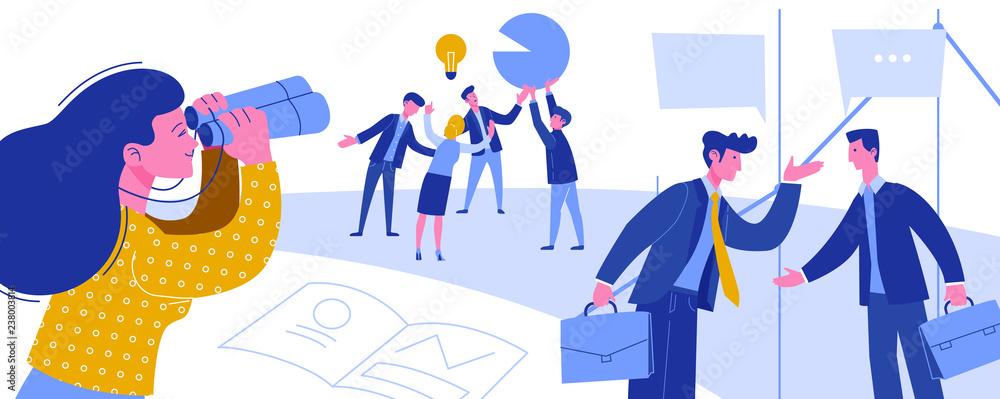 Fototapety, obrazy: Business Intelligence Creative Idea Thievery. Economic Spying for Businessman. Woman Looking to Binoculars Industrial Espionage Horizontal Scene Flat Cartoon Vector Illustration.