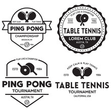 Printvector Set Of Ping Pong Logos, Emblems And Design Elements. Table Tennis Logotype Templates And Badges.