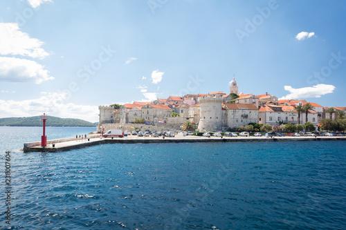 Valokuva View of the beautiful Korcula town from the sea, Korcula island, Dalmatia, Croat