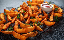 Paprika Potato Wedges Fries Chips, With Ketchup And Thyme