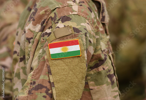 Fotografie, Obraz  Flag of Kurdistan on soldiers arm