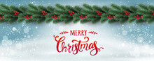 Merry Christmas Typographical On White Background With Garland Of Tree Branches Decorated With Stars, Lights, Snowflakes. Xmas Theme. Vector Illustration